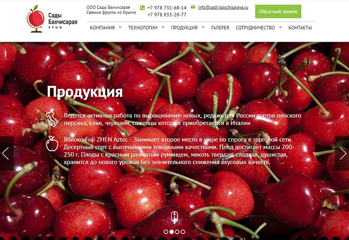 Разработка корпоративного сайта Сады Бахчисарая